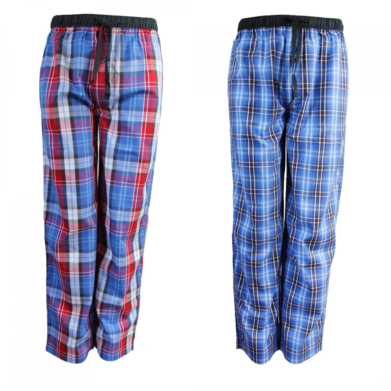 2 ceceba gewebte pyjamahosen schlafanzug hosen homewear blau schwarz rot kariert. Black Bedroom Furniture Sets. Home Design Ideas